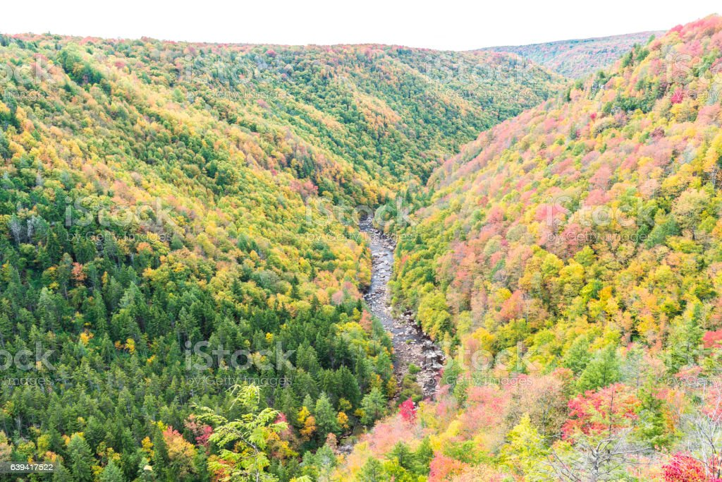 Blackwater river with Allegheny mountains in autumn stock photo