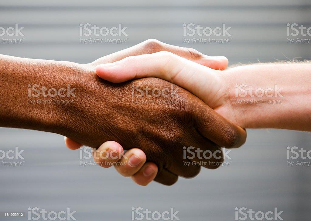Black-white handshake royalty-free stock photo