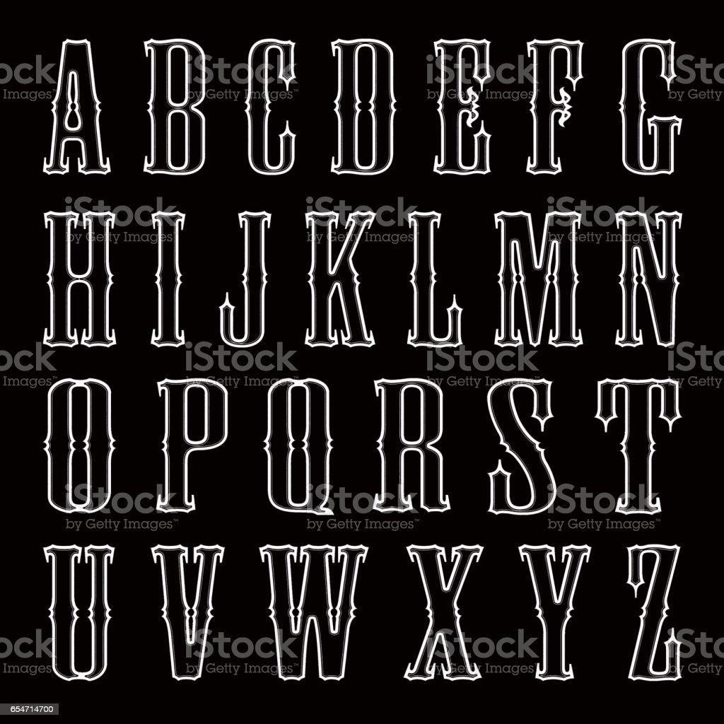 Black-white letters on black background stock photo