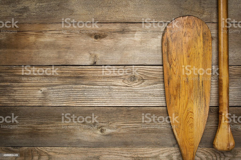 blade and grip of canoe paddle stock photo