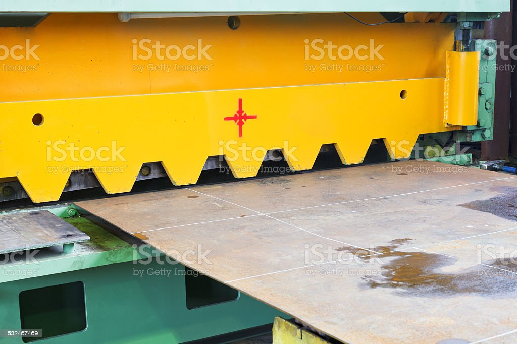 blade of cutting machine for metal sheets stock photo