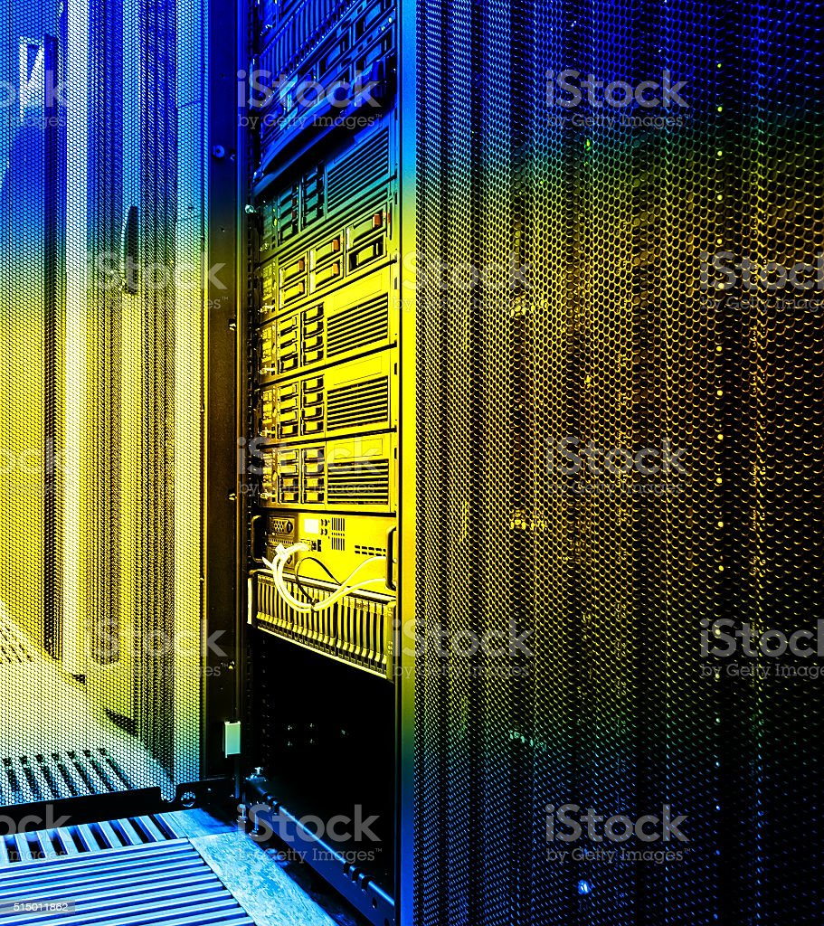 Blade server close-up in series of mainframes data center stock photo