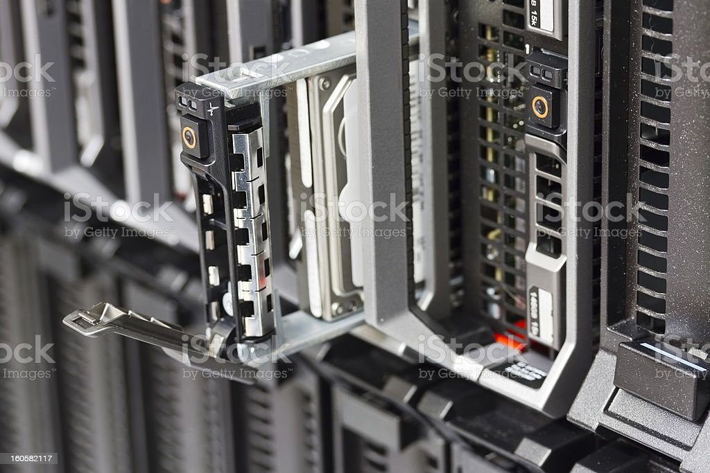 Blade Server with Hard Drive stock photo