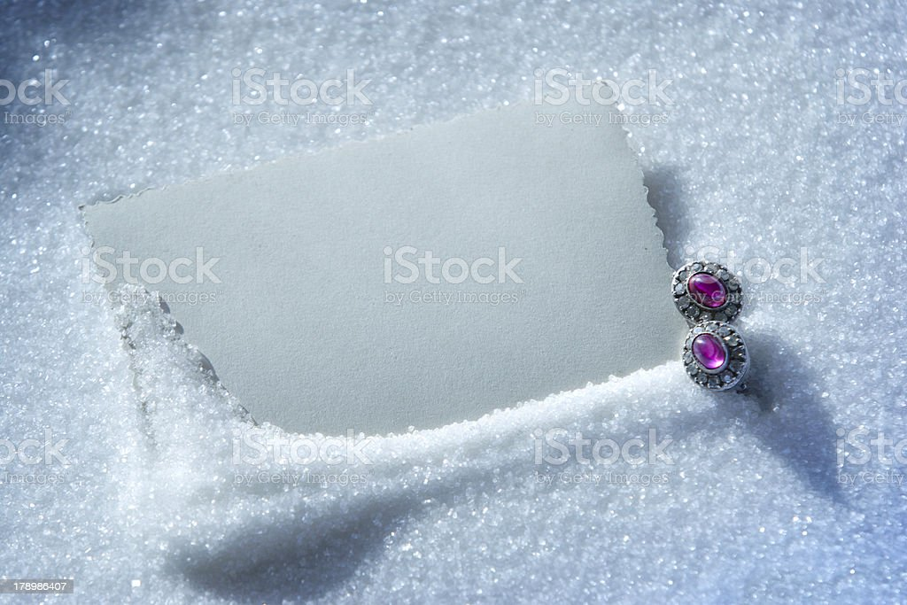 blanс white christmas card in the snow royalty-free stock photo