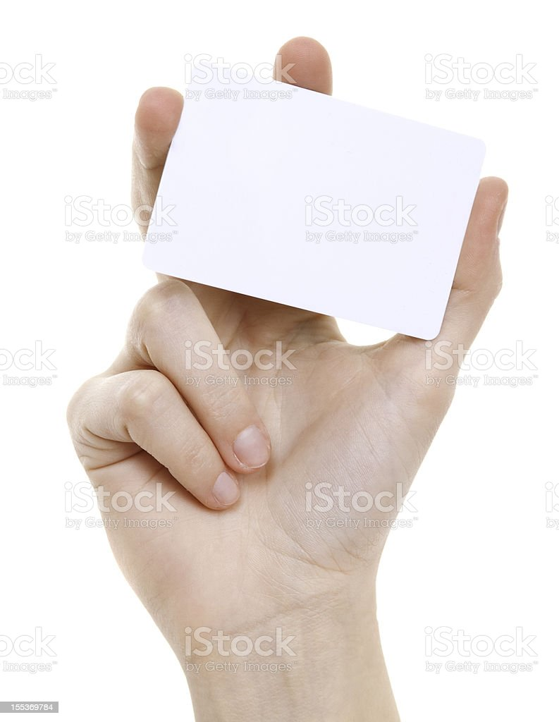 Blanc card in female hand on white stock photo