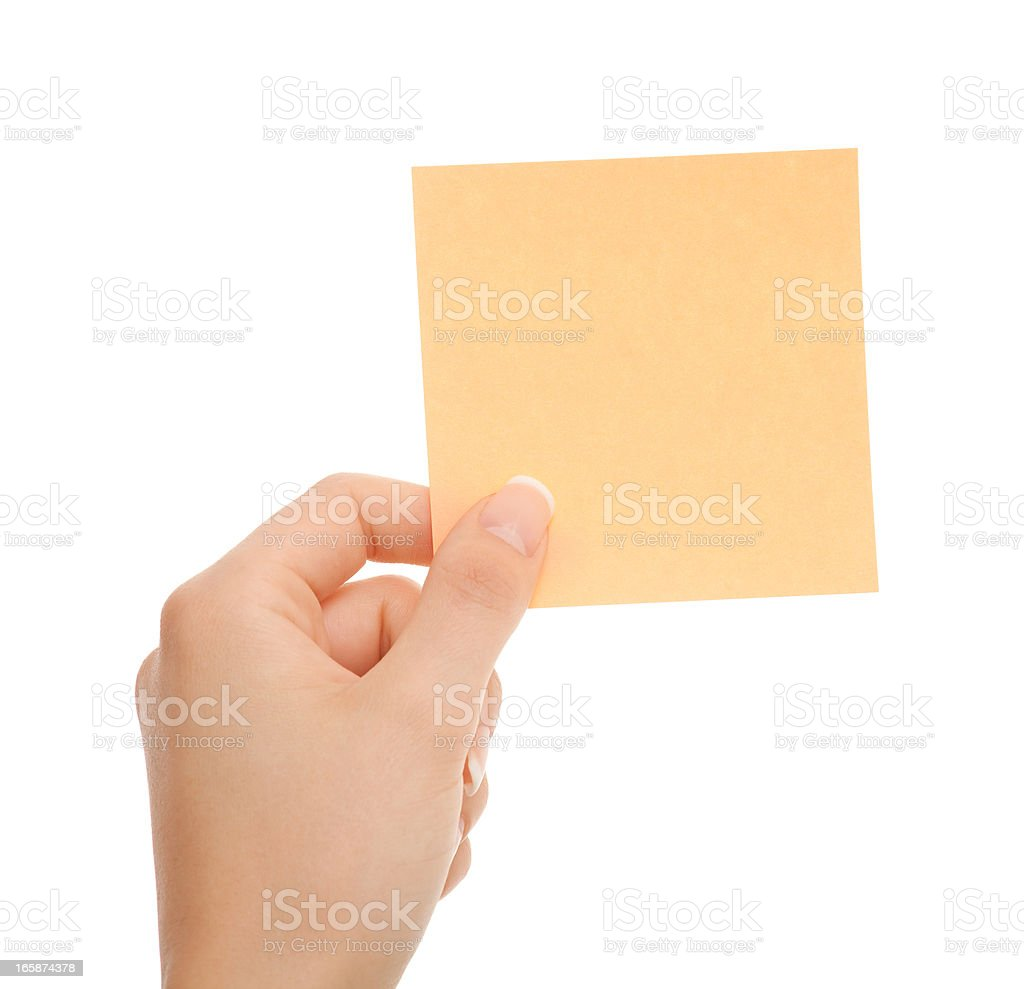 Blanc note in woman hand on white stock photo