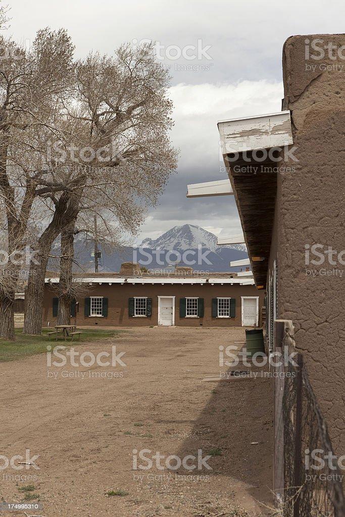 Blanca Peak and historic Fort Garland Colorado stock photo