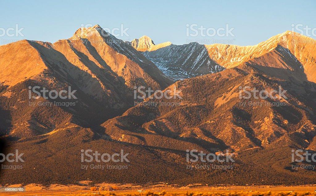 Blanca Peak Colorado 14er Direct Sun Alpine Glow stock photo