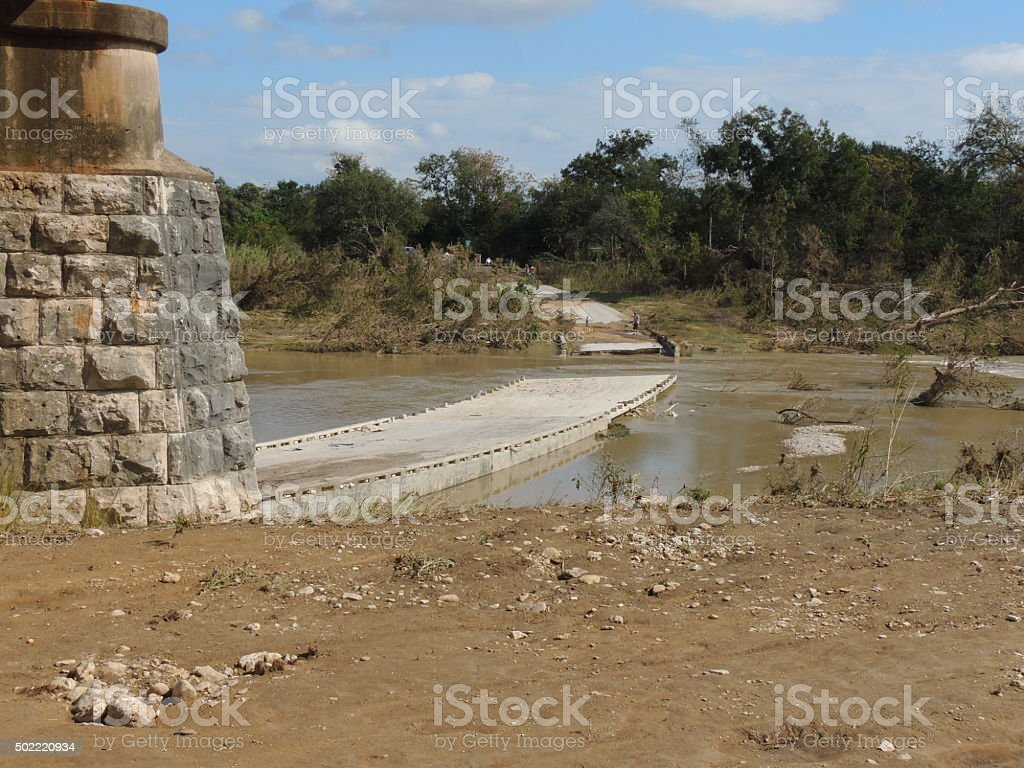 Blanco River, Bridge Out on Low Water Crossing stock photo