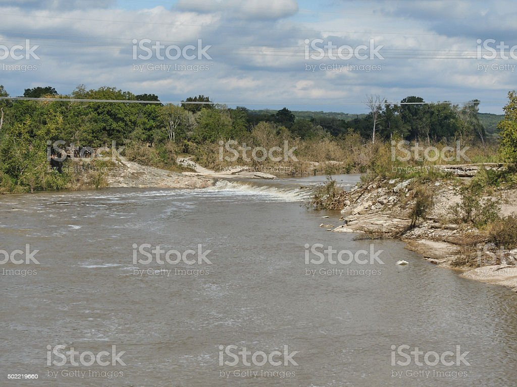Blanco River from IH-35 near San Marcos stock photo