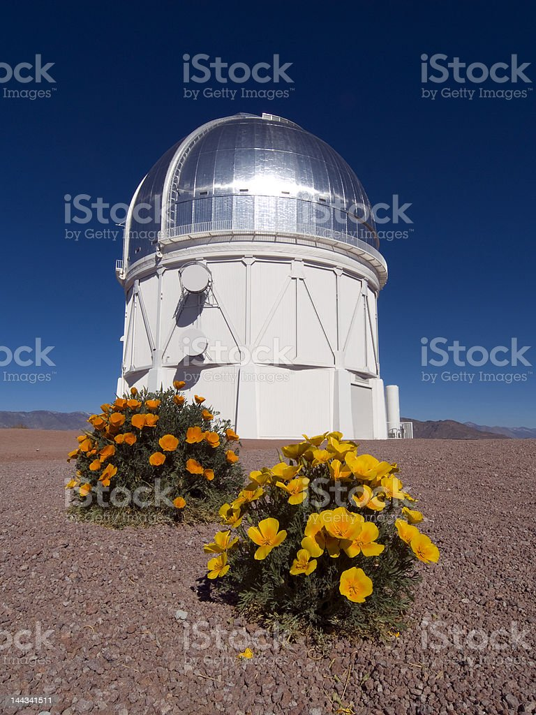 Blanco telescope dome with flowers stock photo