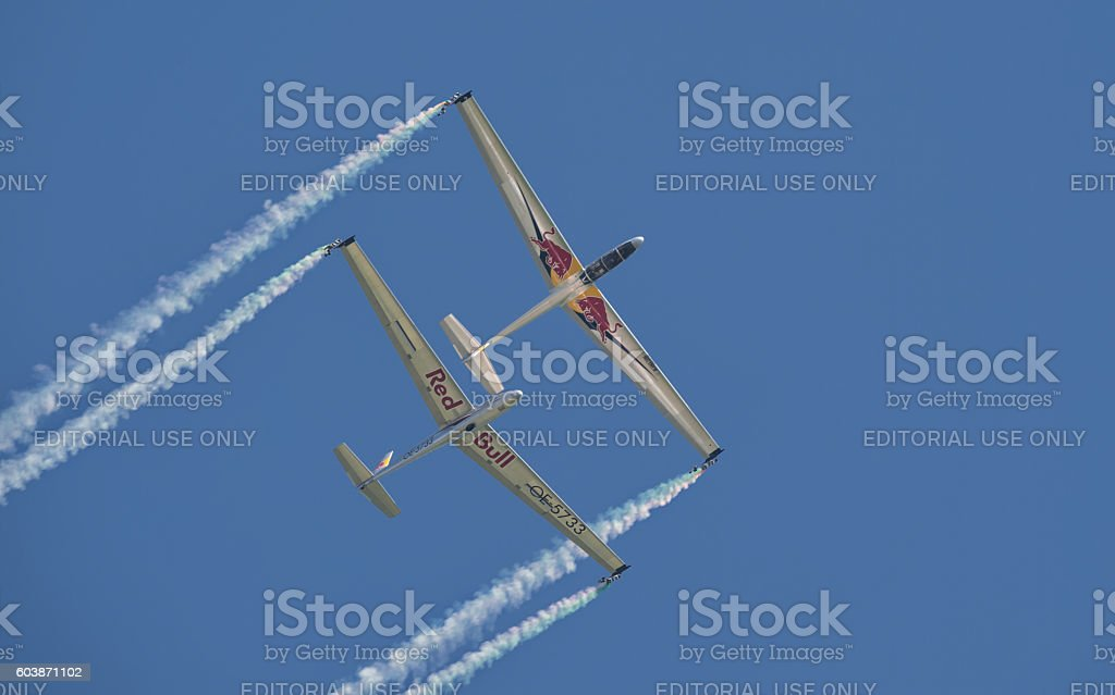 Blanix aerobatic glider team stock photo
