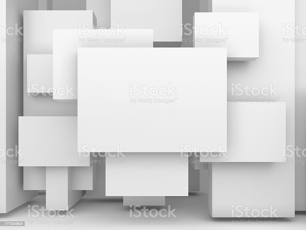 Blank 3D advertising panels lay on top of each other stock photo