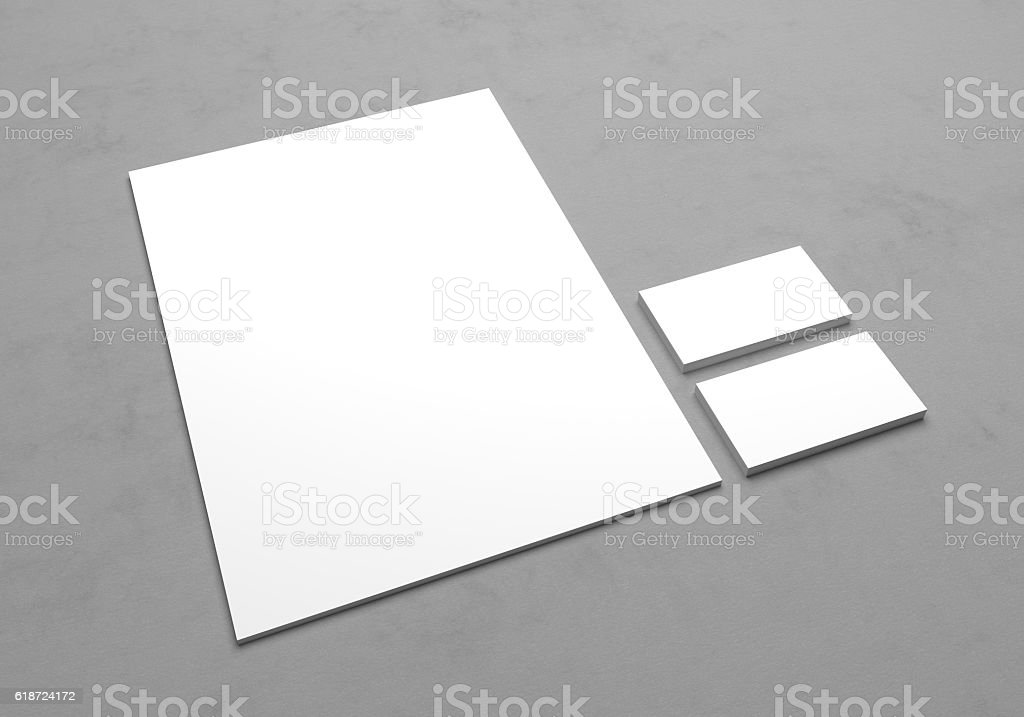 Blank 3d illustration letterhead paper with business cards. stock photo