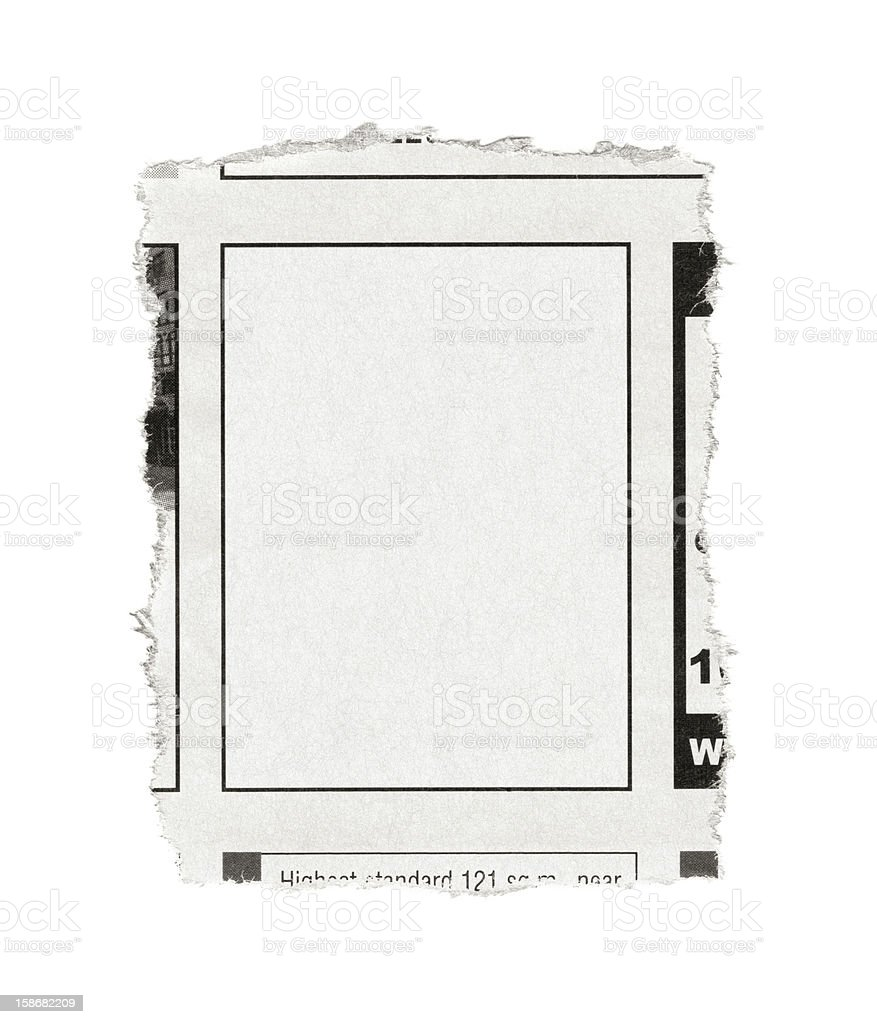 Blank advertisement from newspaper stock photo