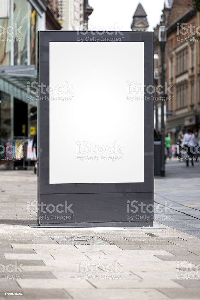 Blank advertising billboard in the city center stock photo