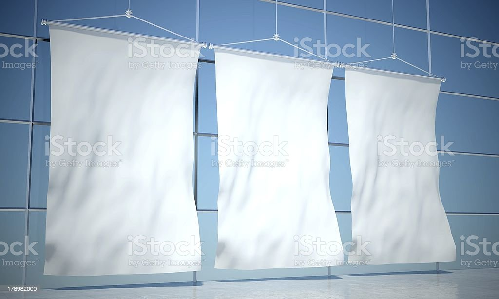 Blank advertising flags, building wall royalty-free stock photo