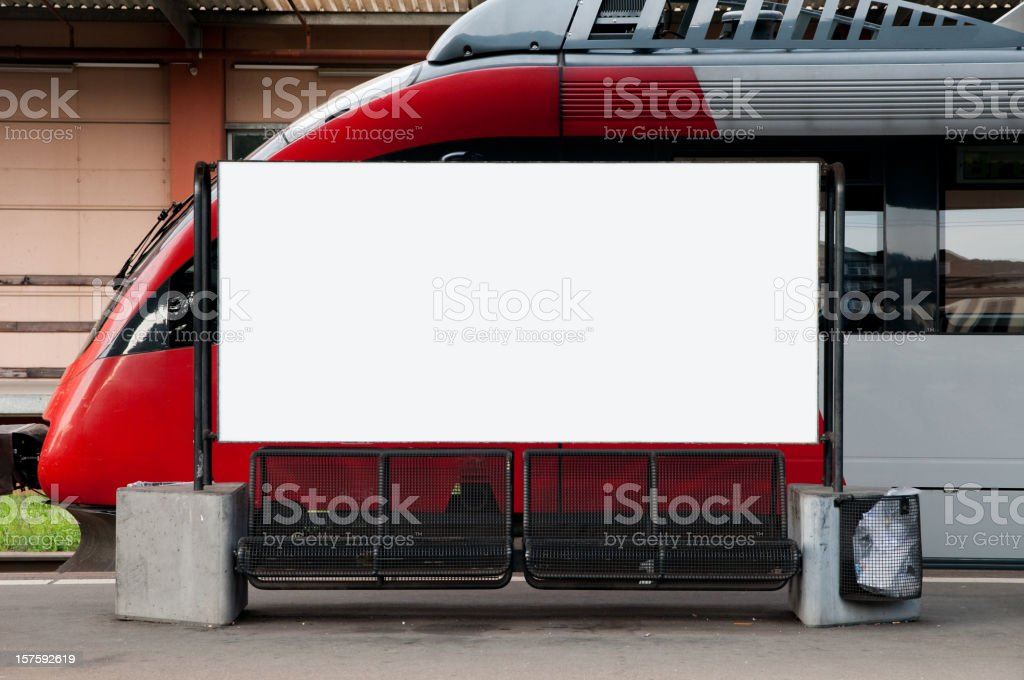 blank advertisment on a railway station stock photo