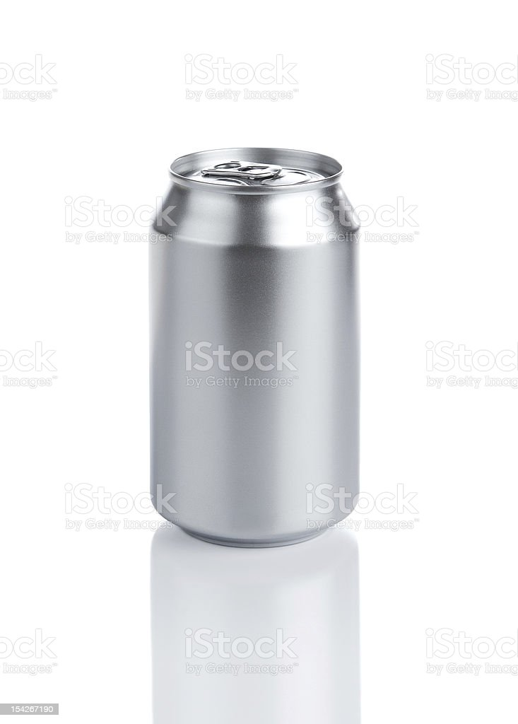 Blank aluminum can with copy space stock photo