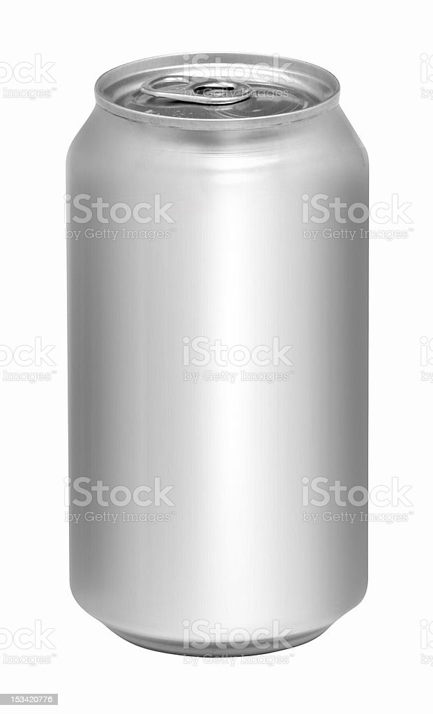 Blank aluminum soda can isolated on white background royalty-free stock photo
