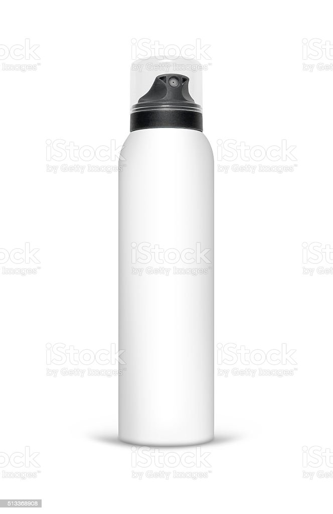 Blank aluminum spray can isolated on white background stock photo