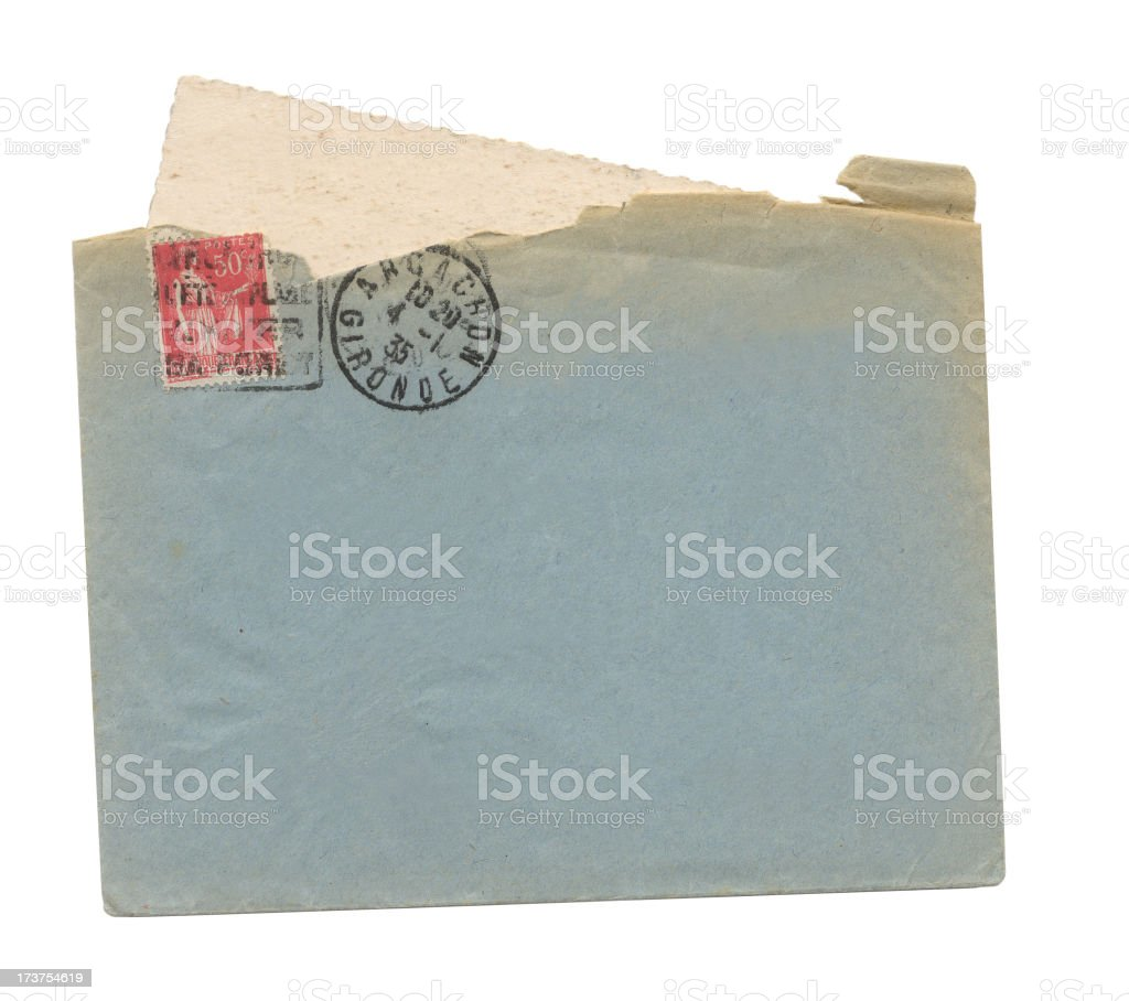 Blank antique envelope with letter from 1935 royalty-free stock photo