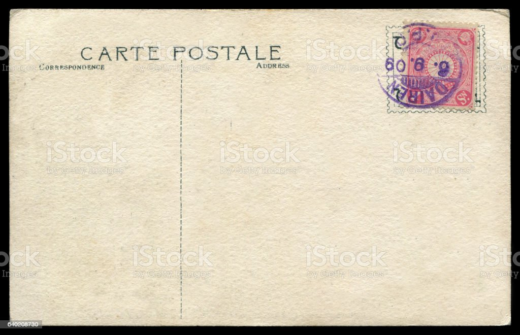 blank antique postcard sent from Japanese occupied Dalian, China stock photo