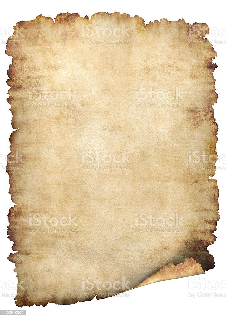 Blank antiqued parchment paper with tattered edges stock photo