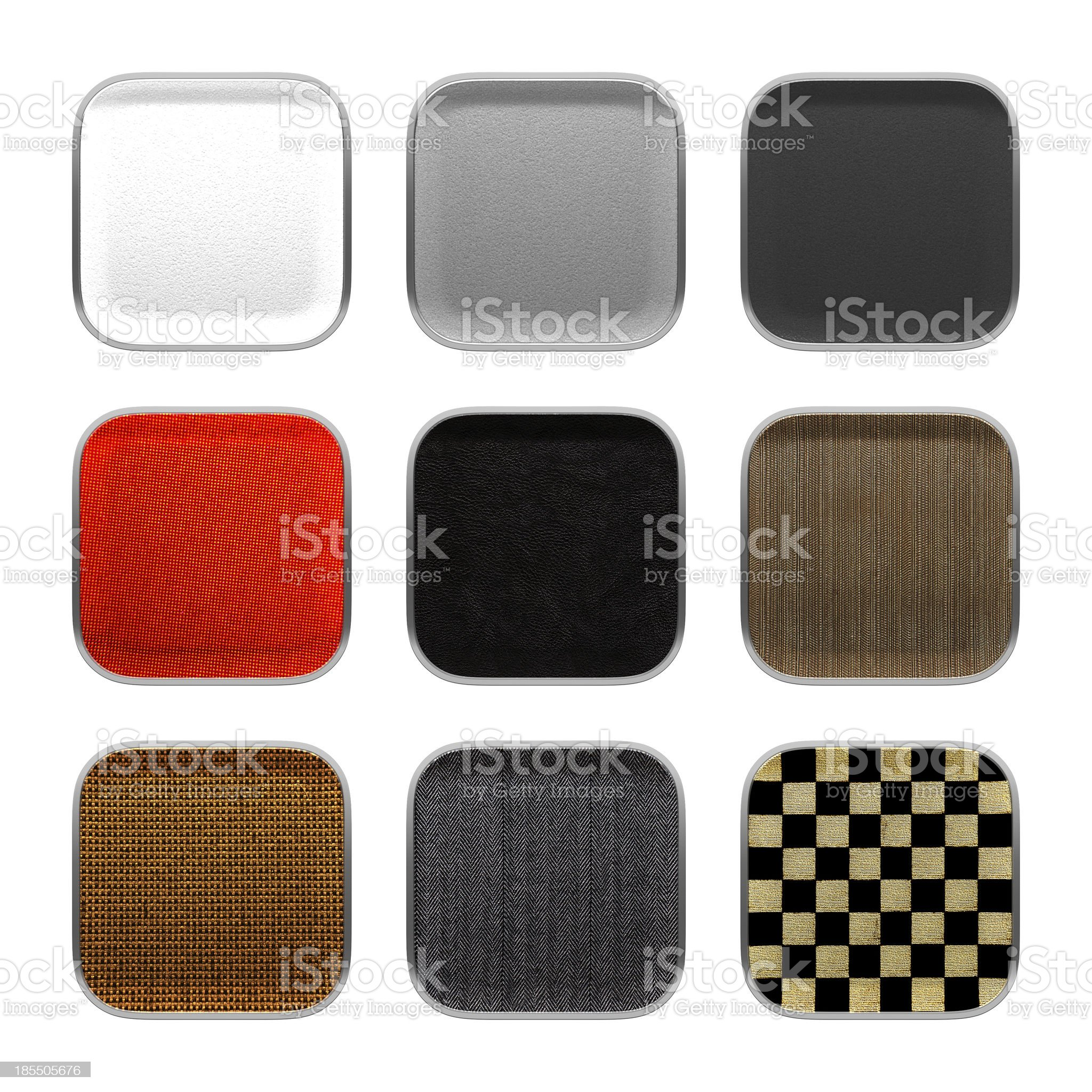 Blank app icon fabric material theme texture with metalic frame. royalty-free stock photo