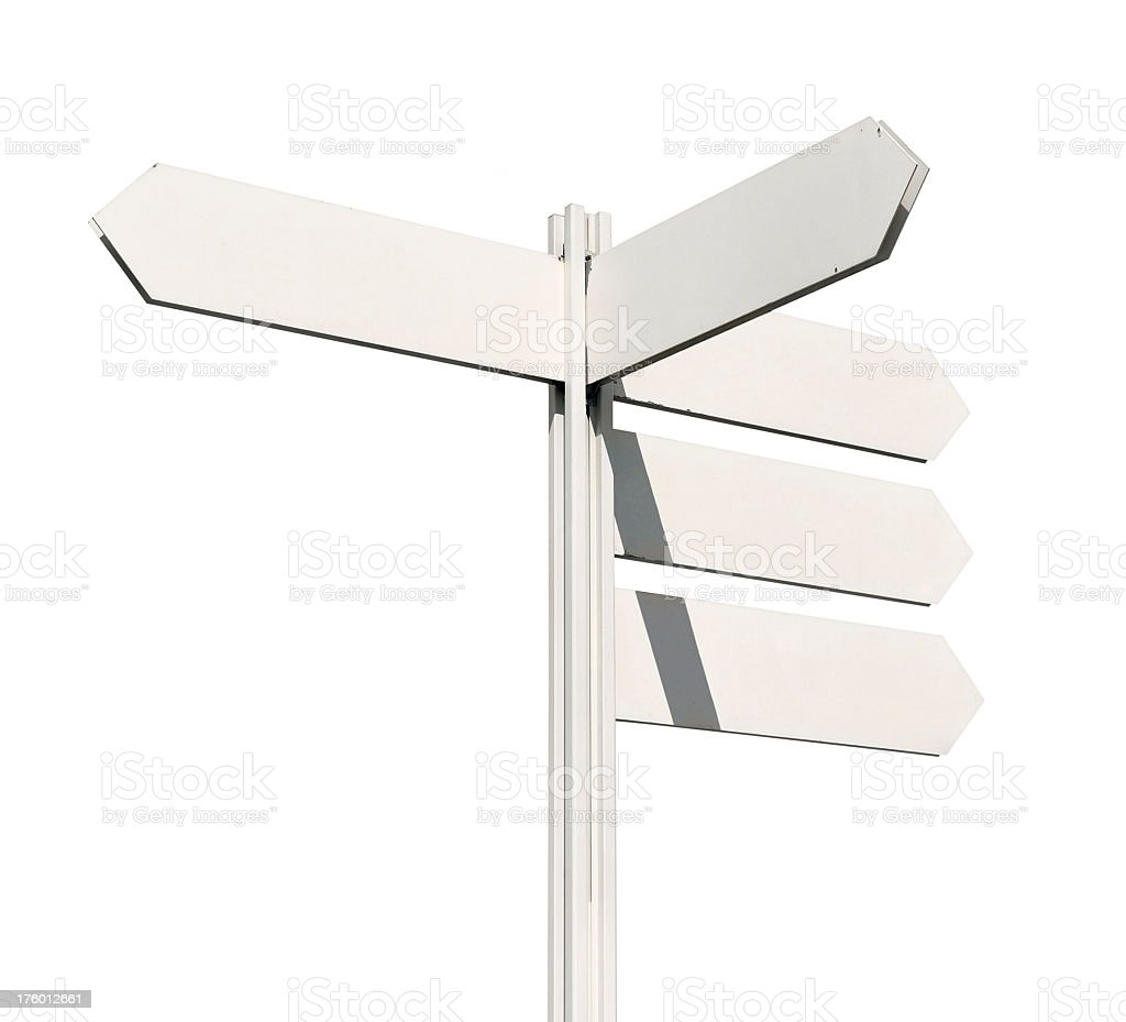Blank arrow signs against white background stock photo