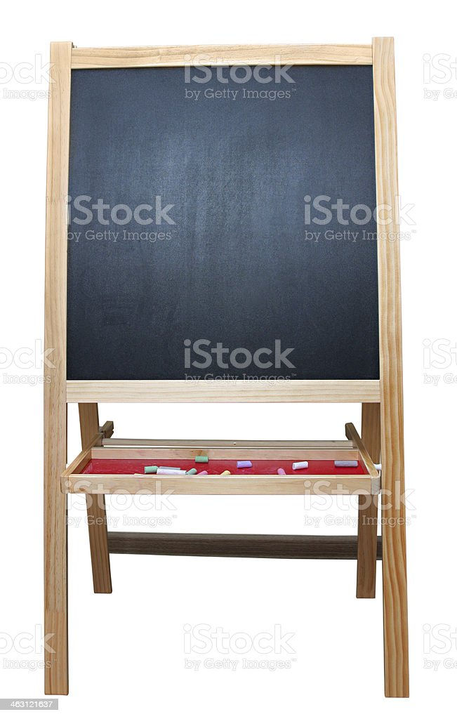 Blank art board, wooden easel, front view, stock photo