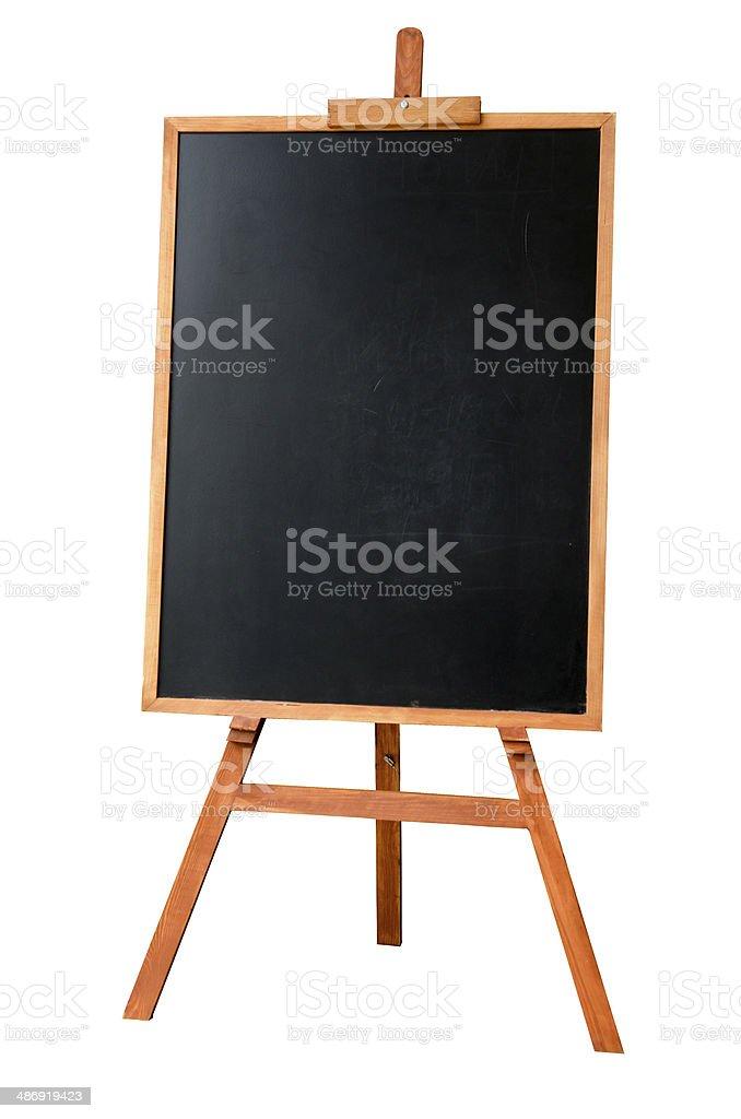 Blank art board, wooden easel stock photo