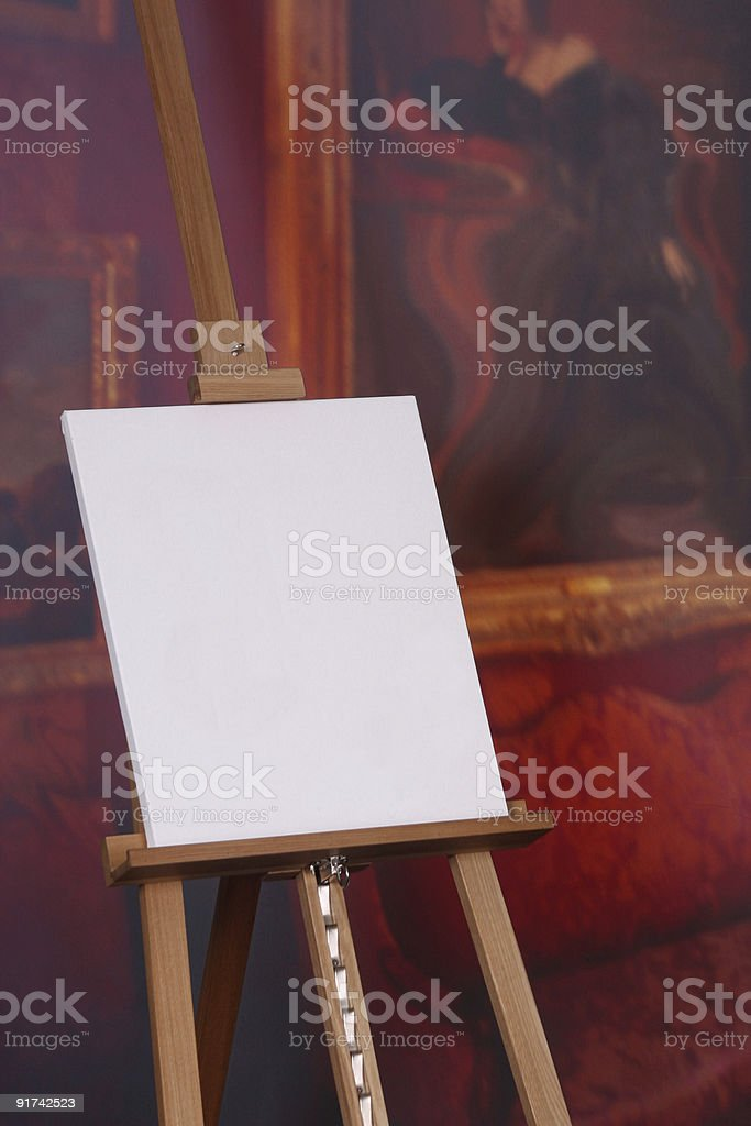 Blank artist canvas on easel royalty-free stock photo