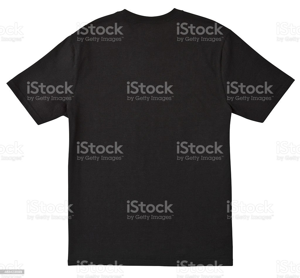 Blank BACK of Black T-Shirt with Clipping Path. stock photo