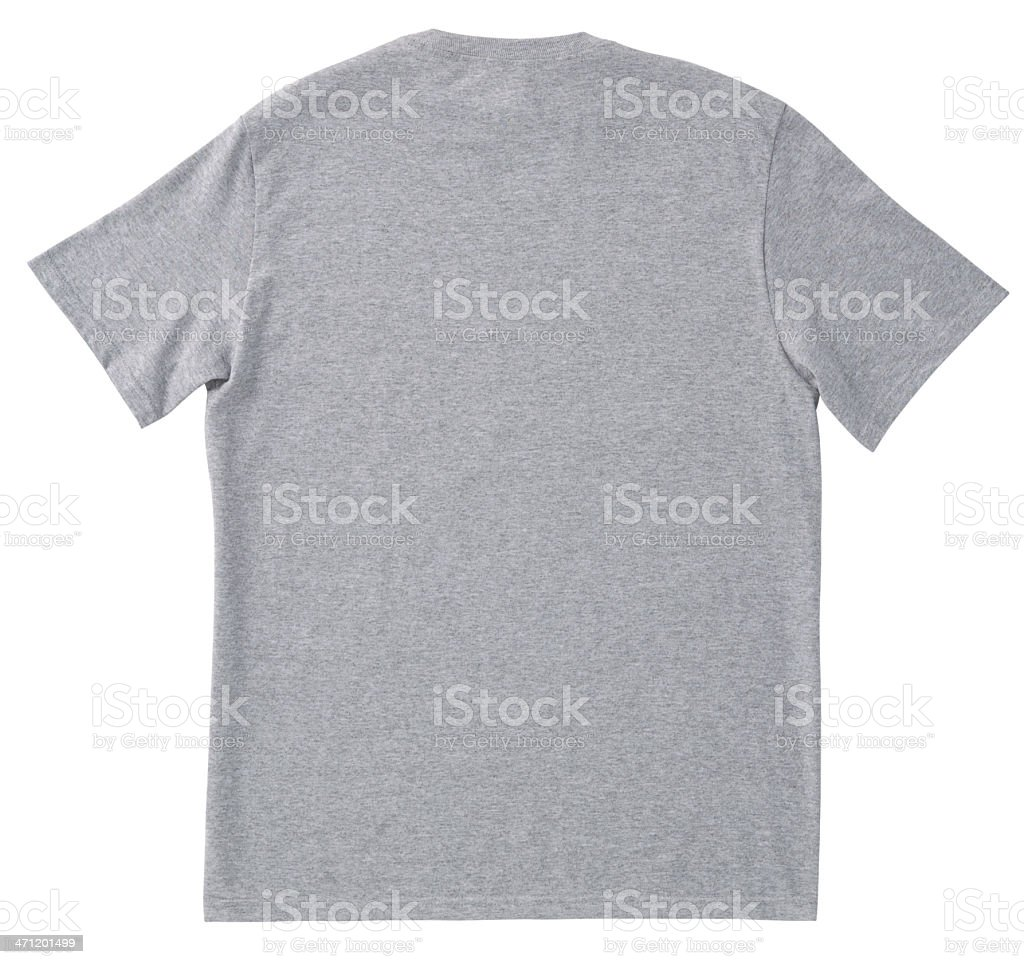 Blank BACK of Gray T-Shirt with Clipping Path. stock photo