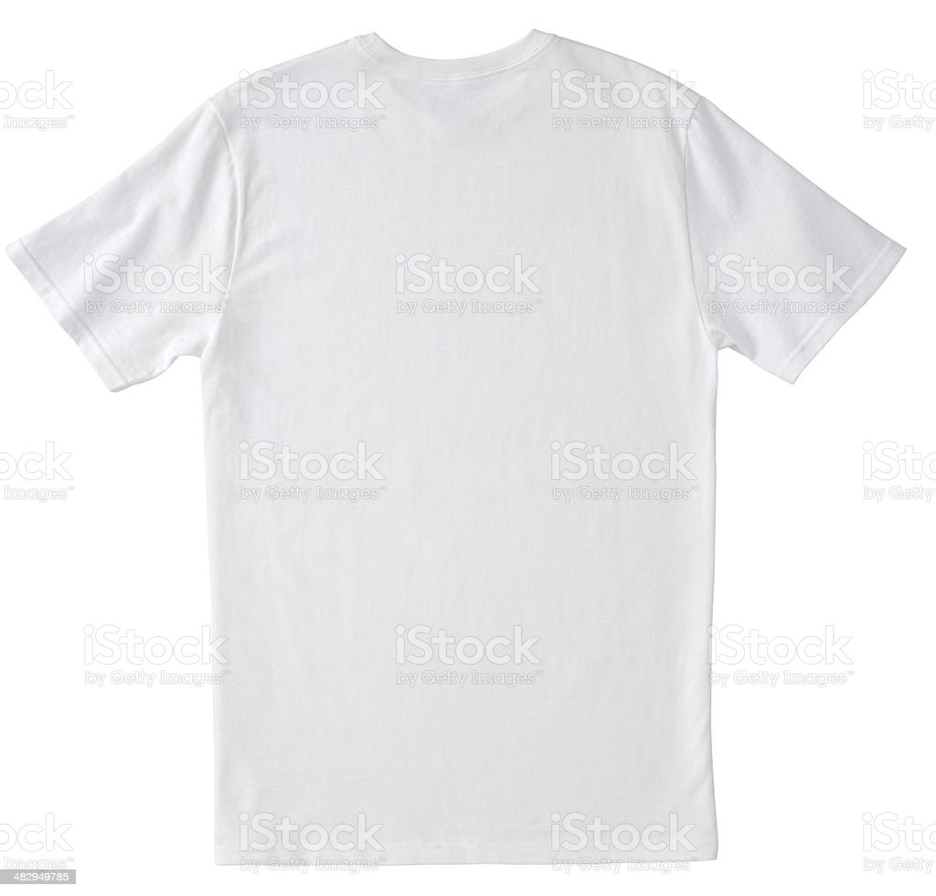 Blank BACK of White T-Shirt with Clipping Path. stock photo