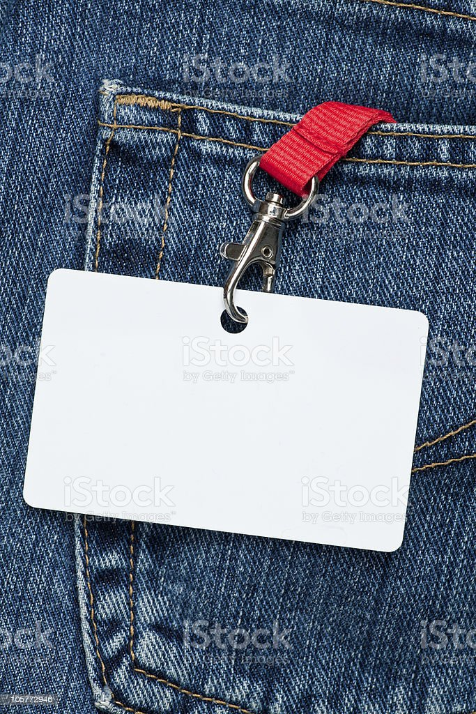 Blank badge in a pocket royalty-free stock photo