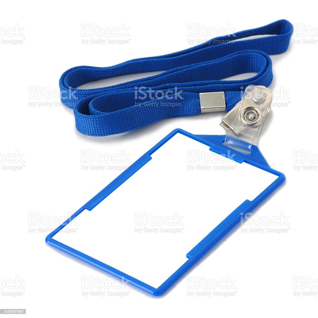 Blank Badge on Blue Strap stock photo