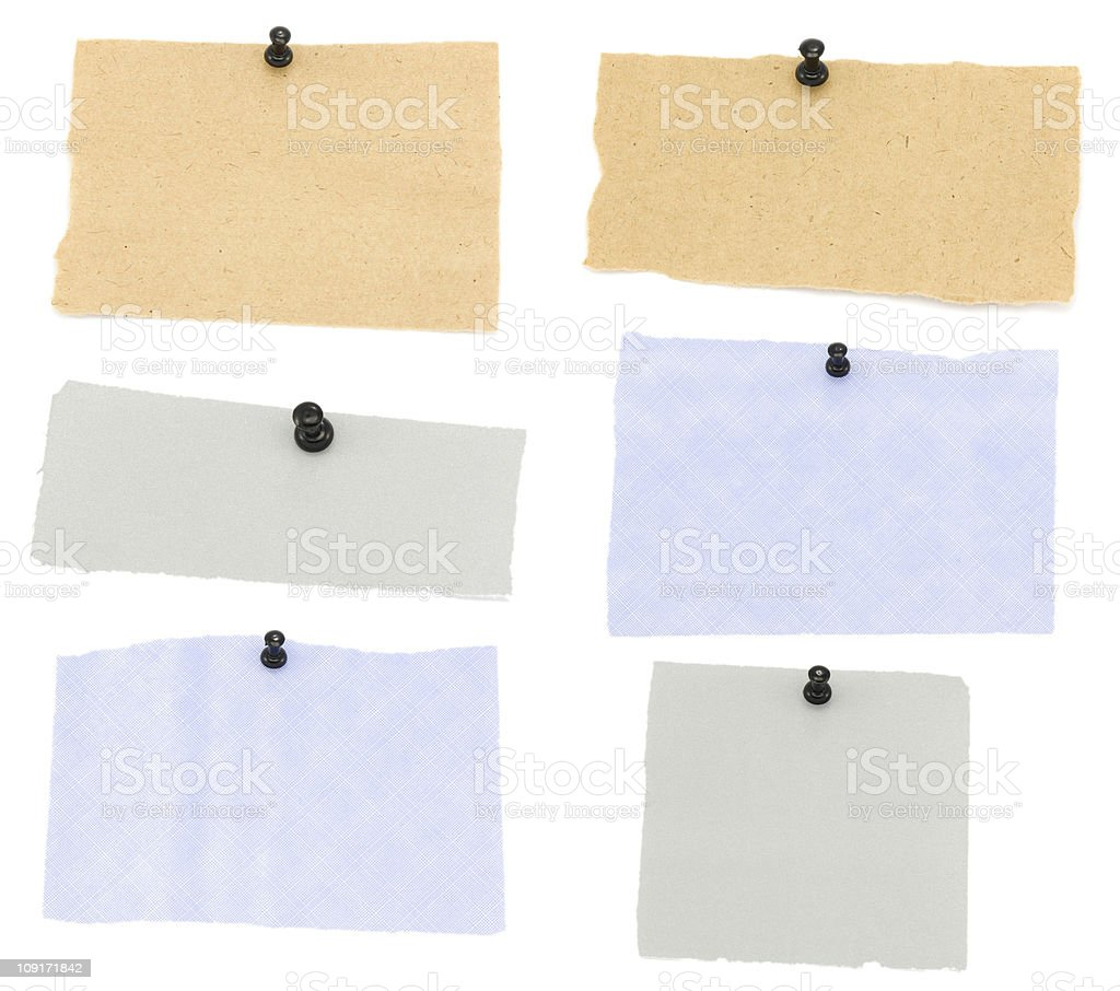 Blank bank notes pinned to white background royalty-free stock photo