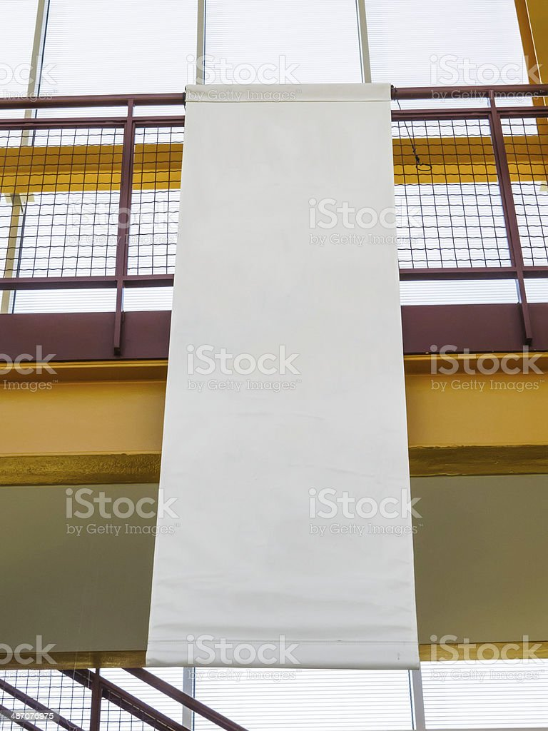 Blank banner hanging in atrium stock photo