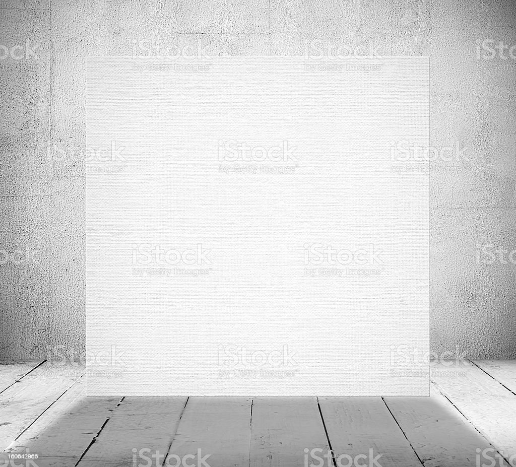 Blank banner in a old white room royalty-free stock photo