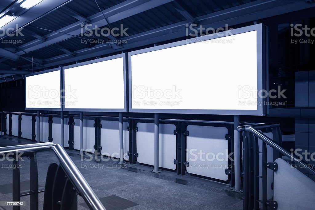 Blank Banner neon media display sign in perspective stock photo