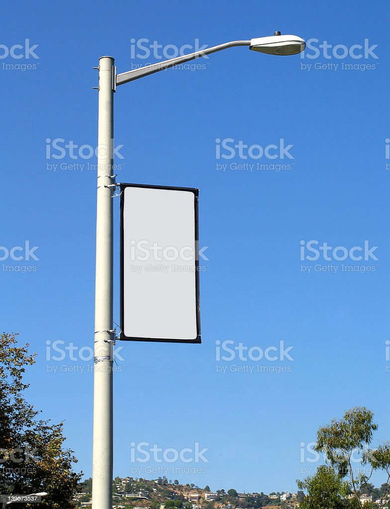 Blank Banner on Light Post royalty-free stock photo