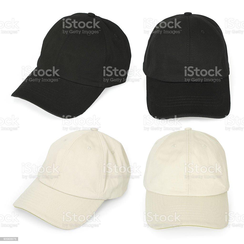 Blank baseball caps stock photo