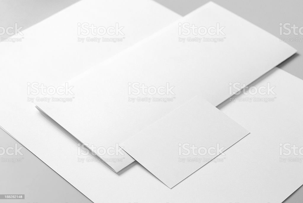 Blank basic stationery. Letterhead flat and folded, business card. stock photo