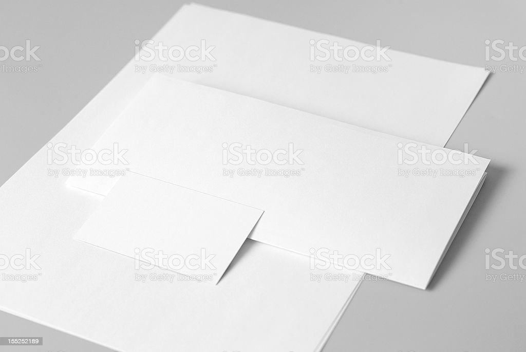 Blank basic stationery. Letterhead flat and folded, business card. royalty-free stock photo