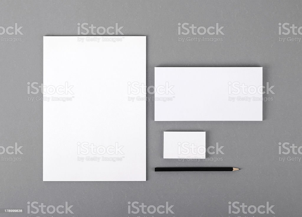 Blank basic stationery. Letterhead flat, business card, envelope, pencil. stock photo