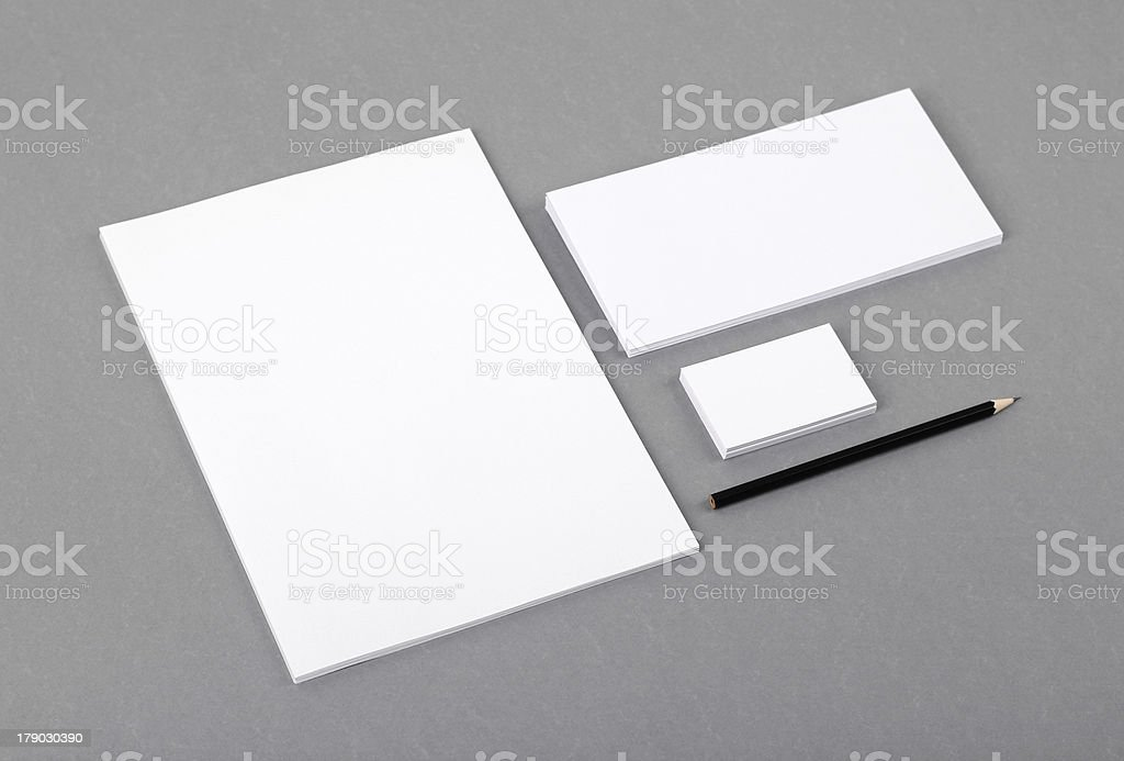 Blank basic stationery. Letterhead flat, business card, envelope, pencil. stock photo