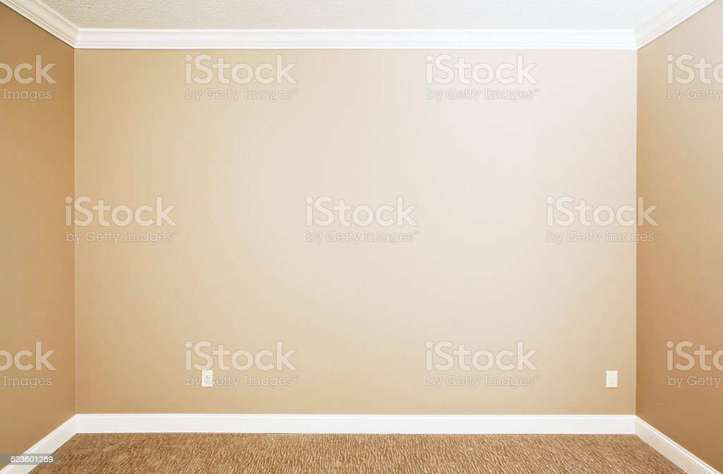 Blank Beige Bedroom Wall with Carpet and Molding stock photo