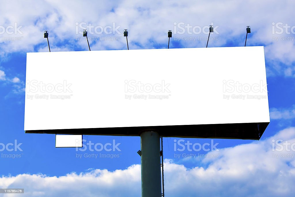 Blank big billboard over blue sky royalty-free stock photo